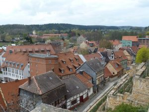 View of roof tops from castle